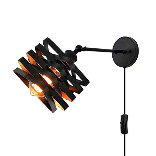 Lámpara de Pared Vintage Industrial, Apliques de Pared Retro Loft Ajustable E27 Socket Metal Negro para Dormitorio, Desván, Sala de Estar, Pasillo, Salon, Cafe