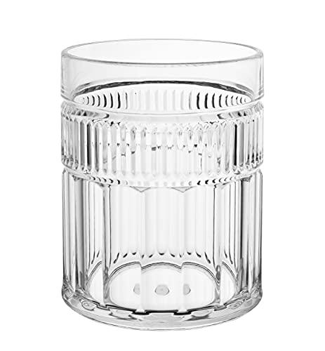 KLIFA- ATHENA- 13.5 ounce, Set of 6, Acrylic Tumbler Drinking Glasses, BPA-Free, Plastic Drinkware, Dishwasher Safe Cups, Clear