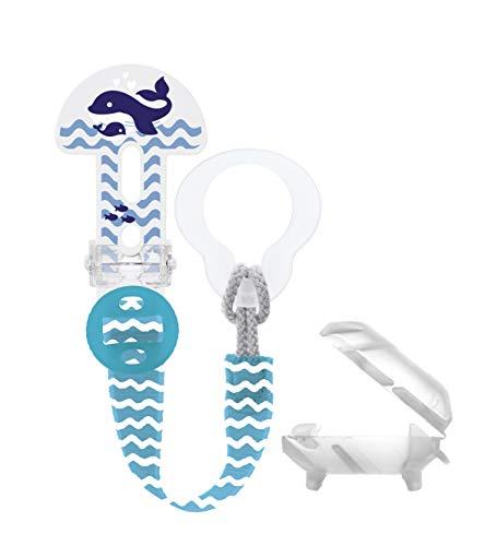 MAM Clip it. Fashion & Cover Schnullerband mit Saugerschutz, längenverstellbarer Schnullerhalter mit abnehmbarem Ring, passend für Schnuller, Beißringe sowie Spielzeuge, blau