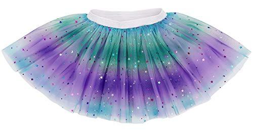 4 Layered Baby Tulle Tutu Skirt Girls Rainbow Sparkle Tutu, Purple, 2-6 Years