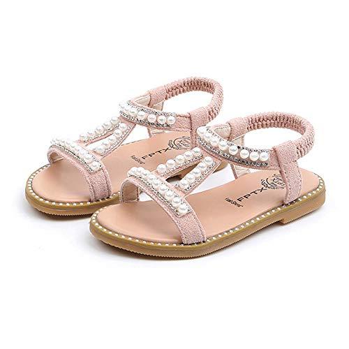 Sandales Talons Fille Sandale Princesse Chaussures Princess Pearl Chaussures œud à Papillon Sandales Plates Enfant Ballerine pour Mariage Fête Carnaval Cosplay Anniversaire
