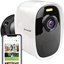 SmartSF Wireless Outdoor Security Camera , Rechargeable Battery Powered Home Security Camera, 1080P Video with 2-Way Audio, Color Night Vision/AI Motion Detection Waterproof WiFi Security Camera