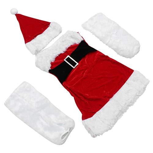SOIMISS 4 Piezas para Mujer Kit de Disfraz de Santa Claus Falda Corta de Navidad Sombrero de Santa Conjunto de Cubierta de Pierna de Felpa Navidad para Mujer Accesorios de Disfraz de