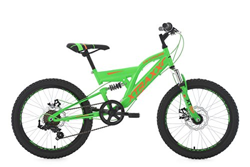 KS Cycling Kinderfahrrad Mountainbike Fully 20\'\' Xtraxx grün-orange RH 30 cm