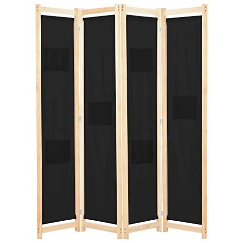 vidaXL Biombo Divisor de 4 Paneles de Tela Decoración Hogar Casa Jardín Bricolaje Salón Comedor Ambientes Habitaciones Separador 160x170x4 cm Negro