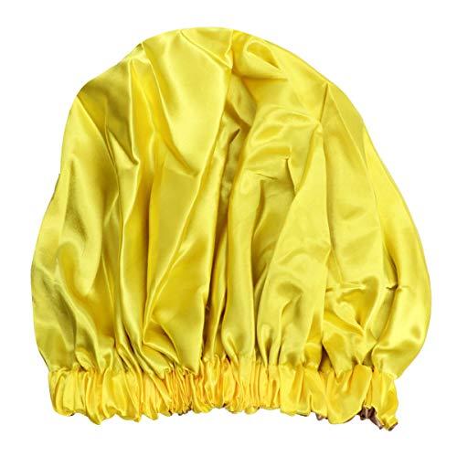 PIXNOR Bonnet de Nuit Satin Double Couche Élastique Bonnet de Nuit Chapeau Cancer Perte de Cheveux Coiffure Couvre-Chefs pour Salon de Sommeil Spa