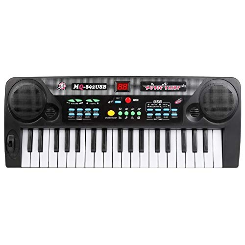 M SANMERSEN Musical Keyboard Piano, 37 Keys Piano Keyboard for Kids Electric Pianos Keyboards with Microphone Teaching Toy Gift for 3-8 Year Old Beginners Boys Girls