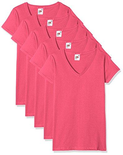 Fruit of the Loom Valueweight Camiseta, Rosa (Fuschia), XS (Pack de 5) para Mujer