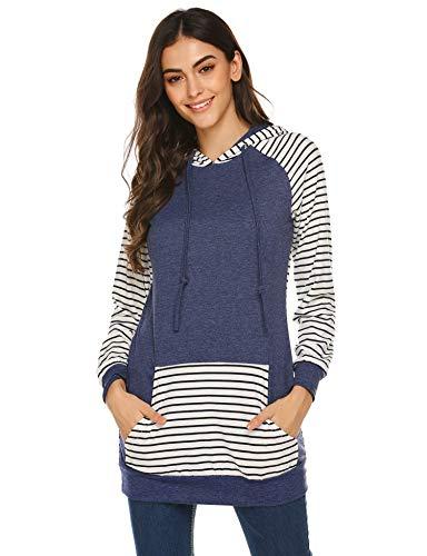 IN'VOLAND Damen gestreifte Sweatshirts Sport Hoodies für Frauen Lange Ärmel Kordelzug Pullover Reißverschluss Kontrastfarben Mädchen Outwear mit Fronttaschen Gr. S, Marineblau