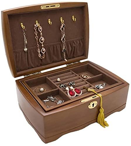 Joyero organizador para mujeres y niñas, bandeja de extracción de 2 capas, caja de almacenamiento de joyas de madera con colgadores