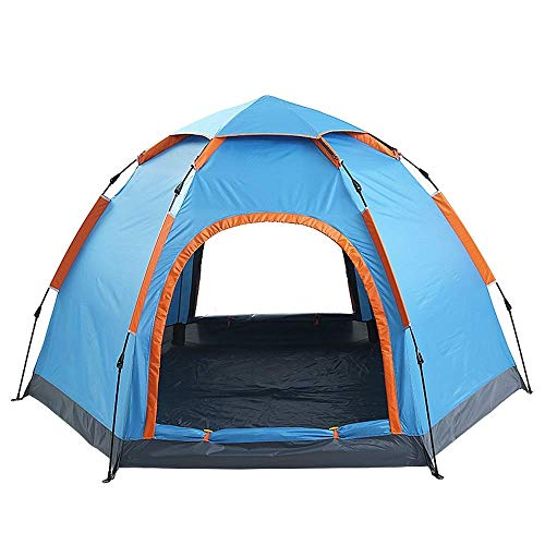 XIUYU Camping Tent, Fully Automatic Hexagonal Tent Outdoor 3-4 People 4-6 People Camping Free Set Up Tent Double Door Single Layer -tent