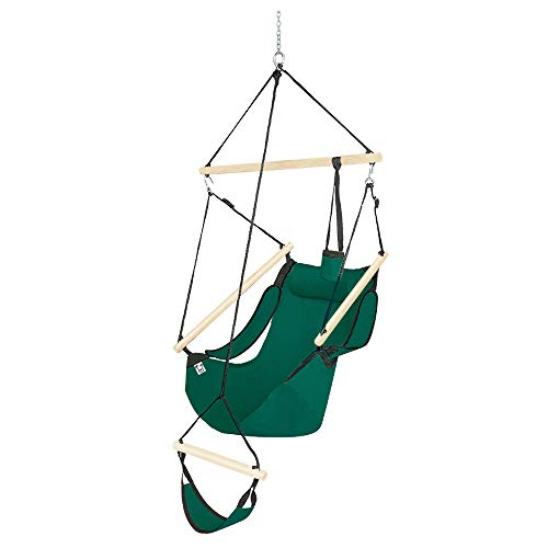 ONCLOUD Upgraded Unique Hammock Hanging Sky Chair, Air Deluxe Swing Seat with Rope Through The Bars Safer Relax with Fuller Pillow and Drink Holder Beech Wood Indoor/Outdoor Patio Yard 250LBS