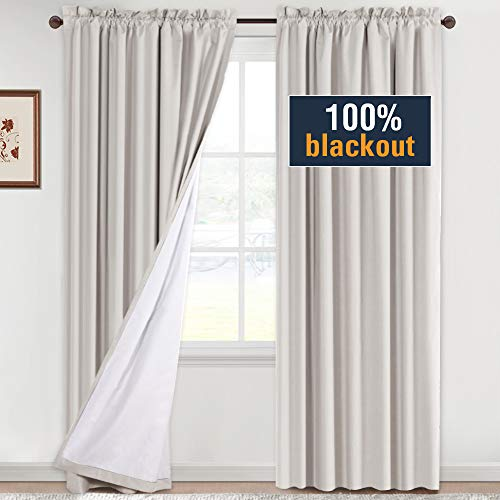 H.VERSAILTEX 100% Blackout Curtains 96 Inches Long Full Light Blocking Curtain Draperies for Bedroom Living Room Thermal Insulated Functional Soft Thick Window Treatment Set of 2 Panels, Natural