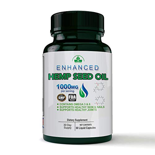 Hemp Seed Oil Capsules – 1000 MG of Pure Hemp Extract per Serving - Pain, Stress & Anxiety Relief - Natural Sleep, Mood & Joint Support - Rich in Omega 3-6-9