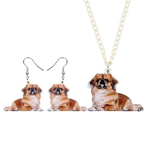 Collar Conjuntos De Joyas Aretes Collar De Perro Animado Acrílico Dulces Animales De Chicas Adolescentes Decoraciones Encantos Partido del Regalo Collares de Mujer Hyococ (Color : Multicolor)