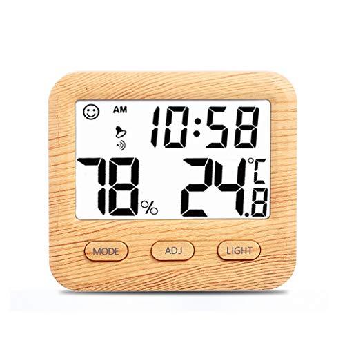Kai Xin Digitalanzeige Elektronische Thermometer und Hygrometer, Wecker-Funktion und Hintergrundbeleuchtung, Home Office-Baby-Raum, Holzmaserung Farbe (Color : A)
