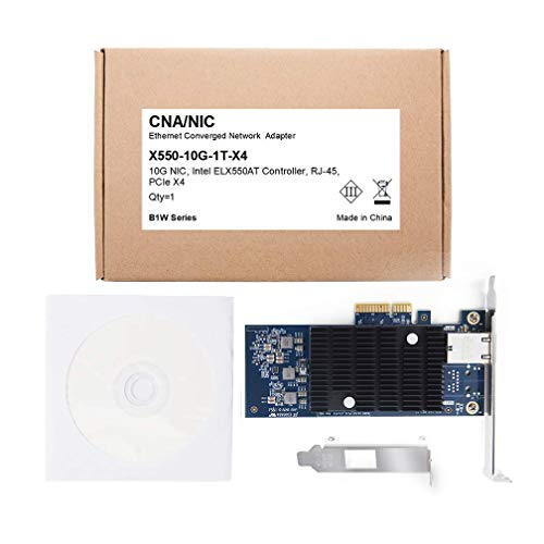 10Gtek® 10GbE PCIE Netzwerkkarte für Intel X550-T1 - ELX550AT Chip, Single RJ45 Port, 10Gbit PCI Express x4 LAN Adapter, 10Gb NIC für Windows Server, Windows 7/8/10, Linux, 3-Year Warranty, MEHRWEG