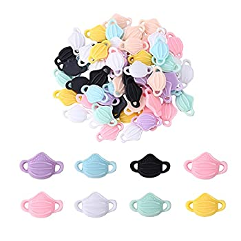 Stiesy 200 Pieces Opaque Resin Flatback Cabochons Mask-Shape Slime Charm Beads in Bulks for DIY Jewelry Making