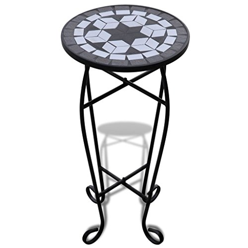 vidaXL New Balcony Mosaic Side Coffee Table Plant Flower Terrace Black Wedding Dining