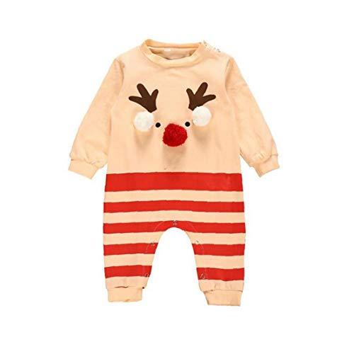 Nicedier Disfraces de Navidad Mono del bebé Elk algodón Lindo Festival de Arrastre de Manga Larga para niños pequeños Monos 70cm