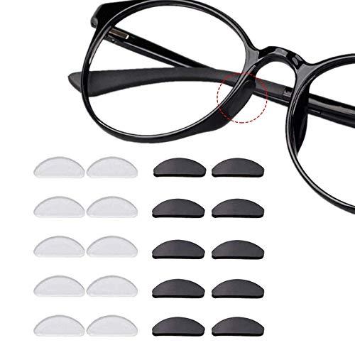 12 Paare Adhesive Nasenpads Anti Rutsch Silikon Brillen Pads für Gläser Sonnenbrille Brille 1.5 mm Schwarz Durchsichtig