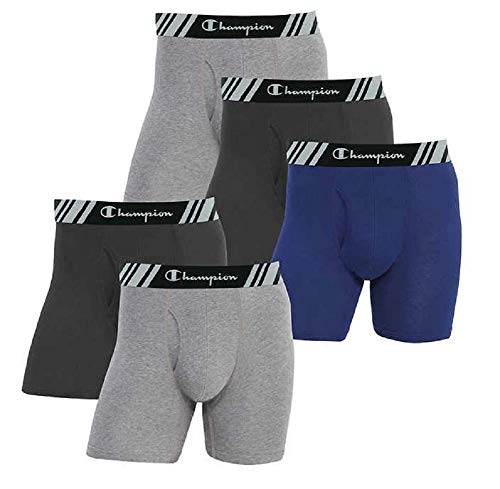 Champion Men's Boxer Briefs All Day Comfort No Ride Up Double Dry X-Temp 5 Pack (Black - Navy - Grey, XX-Large)