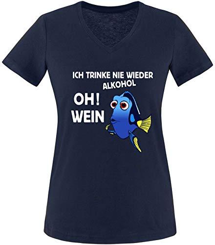 EZYshirt® JGA Junggeselinnerabschied   Ich Trink nie Wieder Alkohol ! Oh ! Wein T-Shirt Damen V-Neck