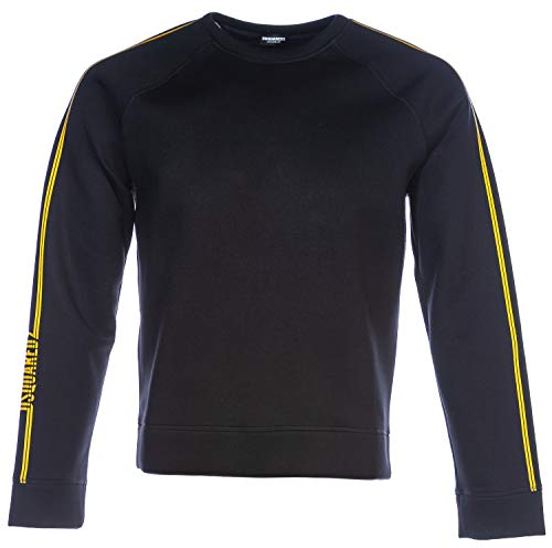 DSQUARED2 Neoprene Stripe Crew Sweat Top in Black | Hoodies Pullover Long Sleeve Jumpers Hooded Top Sweatshirt
