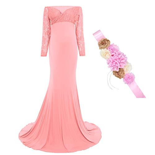 FYMNSI Vestido de maternidad para mujer con banda de flores, vestido largo de noche para boda, para sesiones de fotos, ropa premamá B: Rosa. M