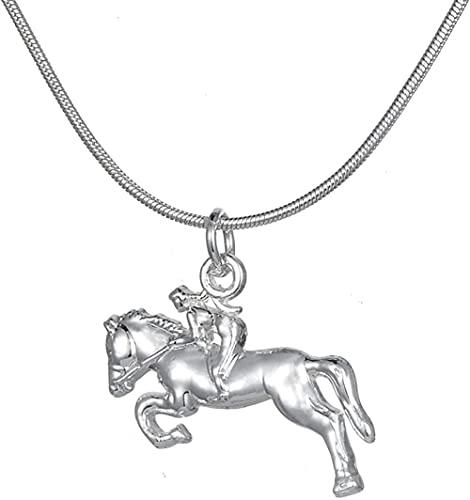 NC122 Colgante, Collar, joyería, Jinete de Caballo, Regalos ecuestres para Vaqueras y entusiastas de la equitación