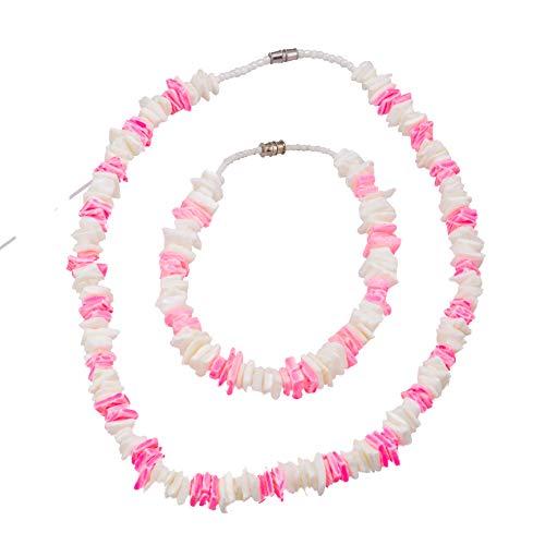 BlueRica 2 Piece Set ~ White & Pink Puka Chip Shells Necklace & Anklet