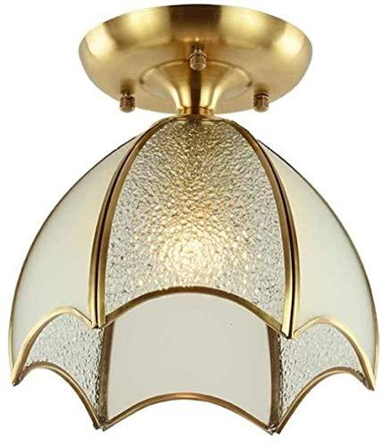 Lámpara de techo de cobre - Pantalla difusora de vidrio de metal Decoración de lámpara simple moderna y simple