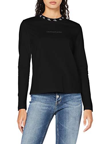 Calvin Klein Jeans Damen Logo Trim Ls Tee Hemd, Ck Black, S