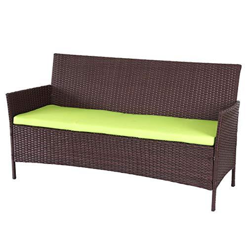 Mendler 3-Sitzer Poly-Rattan Gartenbank Halden, Sitzbank - braun-meliert, Kissen grün