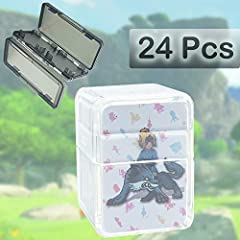 Newest 24 Pcs Mini cards set. Compatible with Nintendo Switch, Wii U and New 3DS systems. Get cool in-game extras with accessories Gifted Game Cards Store Case: Easily store 4 game cards. Case Size:2.75*1.26*0.51 inches, super convenient to store or ...