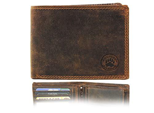 Frédéric & Johns ® - RFID Geldbeutel Männer aus Büffelleder in Geschenkbox Portemonnaie Herren Geldbörse Herren Leder Braun Brieftasche Herrengeldbeutel - Modell Wood (Braun 1)