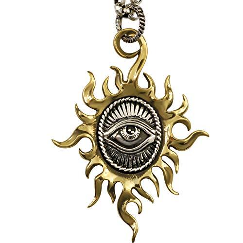 Retro Herren Halskette Auge des Horus Ägyptischen Sonnengott Sterling Silber 925 für Herren Damen Mehrere Kettenlängen,Halskette55cm