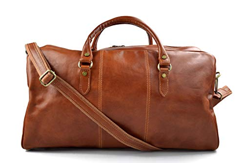 Duffle bag genuine leather shoulder bag honey mens ladies travel bag gym bag luggage made in Italy weekender duffle overnight bag women's duffle bag