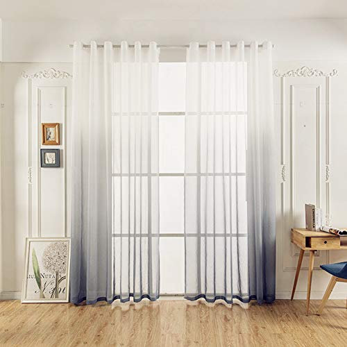 Yancorp Linen Ombre Curtains 2 Panels Gradient Sheer Voile Curtian Drapes with Grommets Tiebacks Valences Bedroom Living Room Window Decor (Gray, 55'x96')