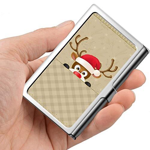 Professionelle Visitenkarte, Brieftasche aus Edelstahl Kreditkarten-ID-Kartenhalter Christmas Elk