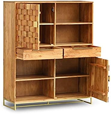 The kashth Solid Wood Book Shelf in Vintage Finish (H 48 x W 33 x D 14)