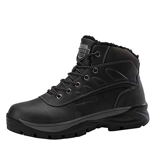 Botas de Invierno para Hombre Calentitas Cómodas Antideslizantes Botas de Nieve Outdoor Impermeables Trekking Zapatos Negro 43