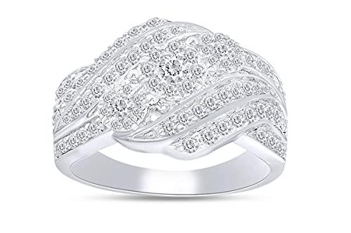 Anillo de compromiso de 1 quilate con diamante natural de tres piedras en forma redonda en plata de ley 925 chapada en oro de 18 quilates (claridad I2), Diamond,