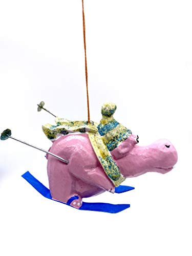 Monkey Business Hippo On Skis Christmas Tree Ornament - Hand Carved and Hand Painted by Indonesian Handicraftsman
