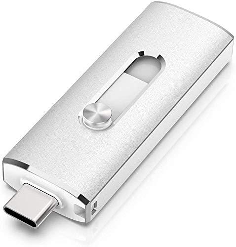 KEXIN Chiavetta USB 128 GB USB 3.0 Tipo C OTG Dual Pendrive USB C Memoria Pennette Impermeabile per MacBook Tablet PC Google Xiaomi (Argento)
