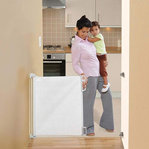 wenhe - Tenda a rullo retrattile per la sicurezza dei bambini, leggera, durevole, per porte, scale, corridoi, interni ed esterni, cancelletto di sicurezza senza soglia