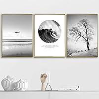 3個スカイシーウェーブビーチフォレストトランクウォールアートキャンバスペインティング北欧のポスターとプリント壁の写真リビングルームの装飾用