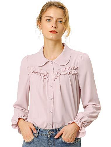 Allegra K Damen Langarm Bubikragen Rüschen Button Top Bluse Rosa S