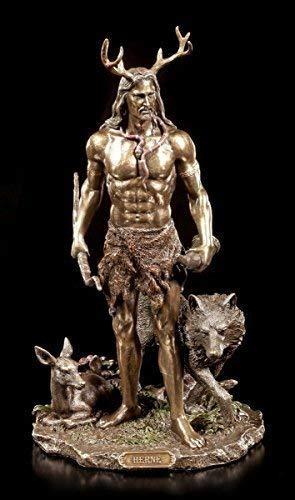 Herne Figur - Der Gehörnte Gott mit Tieren | Veronese Deko Statue Cernunnos
