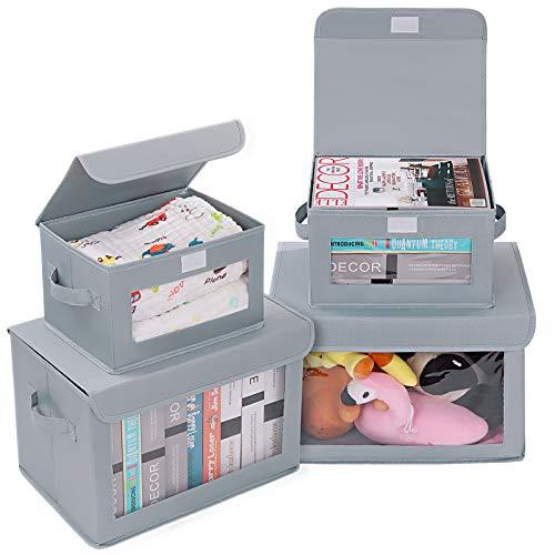 DIMJ Cajas de almacenaje Plegable, Conjunto de 4 Cajas Organizadoras Tela, Cubos de Almacenamiento con Ventana Transparente, Organizadores de Contenedore para Ropa Juguetes Libros (gris claro)